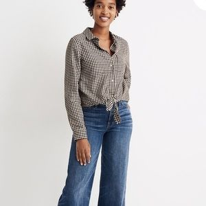 Madewell Flannel Tie-Front Shirt in Gingham